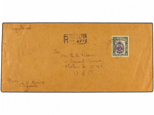 New BORNEO. 1948. Registered cover used to the UNITED STATES franked by single B.M.A. $ 2 violet & olive-green (SG 333), tied by the JESSELTON cds supported by the JESSELTON Registry h-stamp. Arrival backstamps.jpg